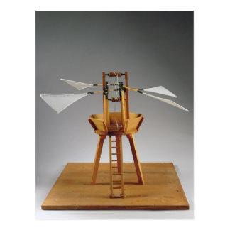 Postal Reconstrucción modelo del diseño de da Vinci