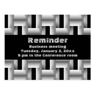 Postal Recordatorio metalizado de la reunión de negocios