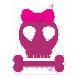 Postal ¡RECORTE! chica rosado del cráneo