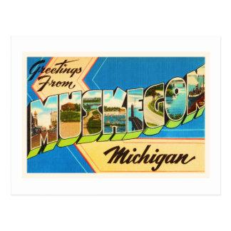 Postal Recuerdo viejo del viaje del vintage de Muskegon