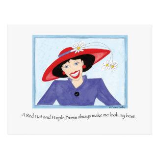 Postal Red Hat y señora púrpura del vestido