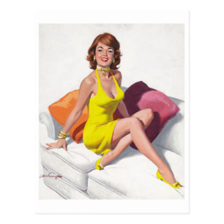 Postal Redhead en Yellow Dress