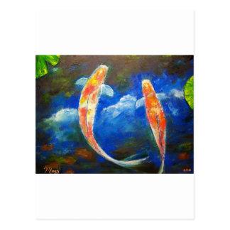 Postal Reflexiones de la nube de los pescados de Koi