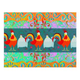 Postal Regalos enrrollados del animal del campo de pollo