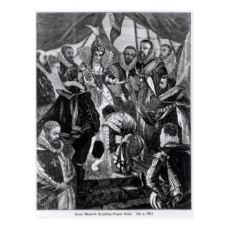Postal Reina Elizabeth I Francis Drake Knighting