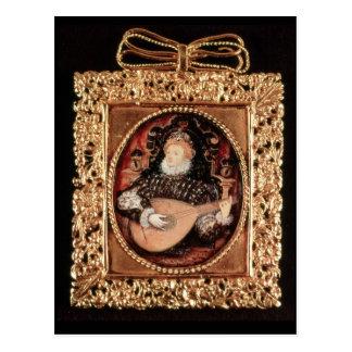 Postal Reina Elizabeth I que toca el laúd