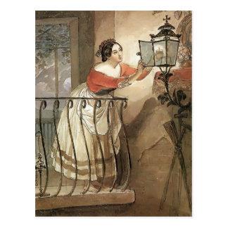 Postal Relámpago italiano de la mujer de Karl Bryullov-
