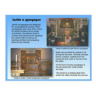 Postal Religión, judaísmo, dentro de una sinagoga
