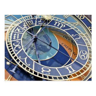 Postal Reloj astronómico, ciudad vieja, Praga