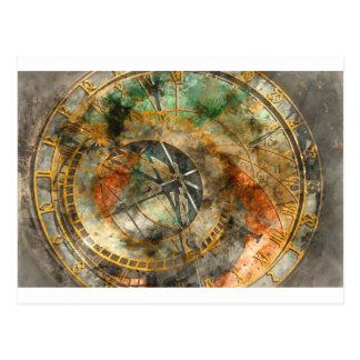 Postal Reloj astronómico en la República Checa de Praga