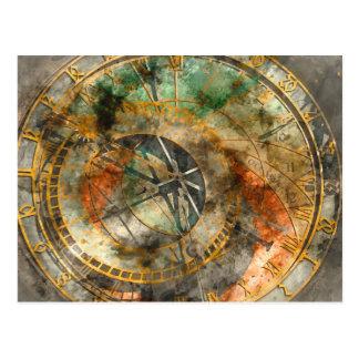 Postal Reloj astronómico en Praga Checo Rebulic
