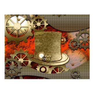 Postal Relojes y engranajes del gorra de la bruja de