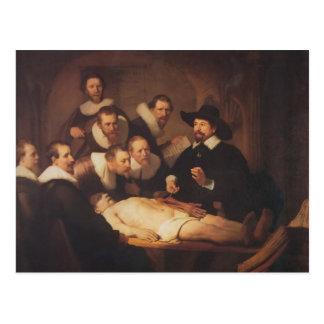 Postal Rembrandt la lección de la anatomía del Dr.