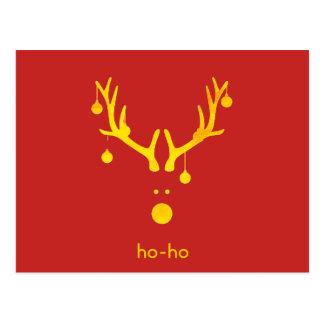 Postal Reno divertido del navidad del extracto del oro en
