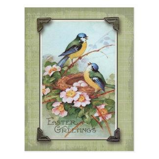 Postal Reproducción azul del vintage del pájaro de los