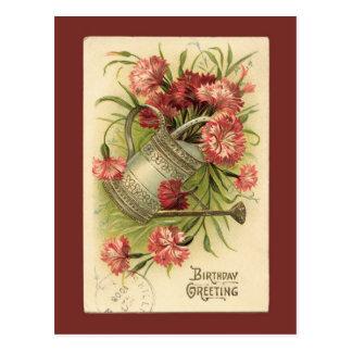 Postal Reproducción del vintage de la regadera de la flor