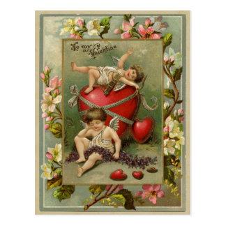Postal Reproducción del vintage de los ángeles y de los