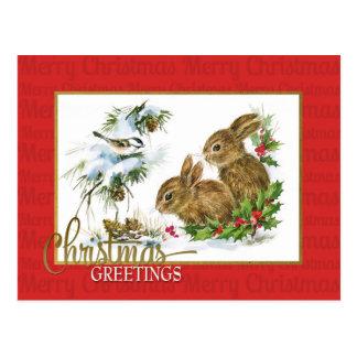 Postal Reproducción del vintage de los conejos de los