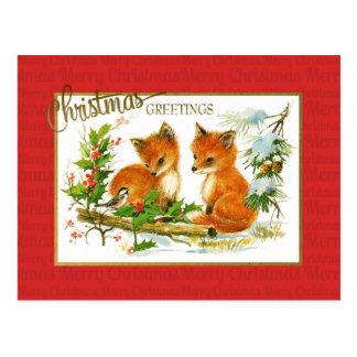 Postal Reproducción del vintage de los zorros de los
