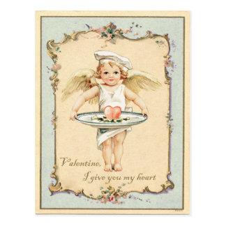 Postal Reproducción del vintage del corazón del ángel del