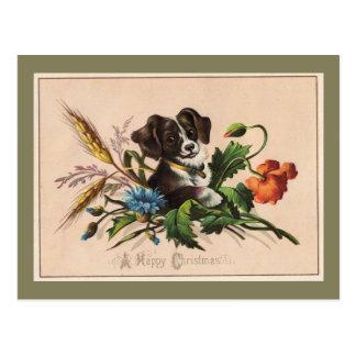 Postal Reproducción linda del vintage del perro de las