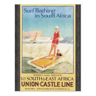 Postal Resaca que se baña en Suráfrica, vintage