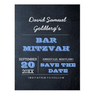 Postal Reserva azul de Mitzvah de la barra de la pizarra