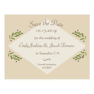 Postal Reserva botánica moderna simple del boda la fecha