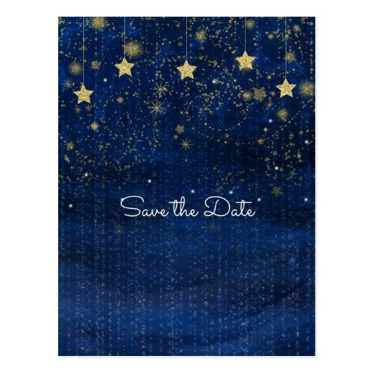 Postal Reserva celestial estrellada brillante del azul y