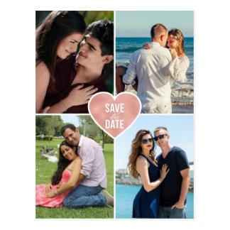 Postal Reserva color de rosa del boda del corazón del