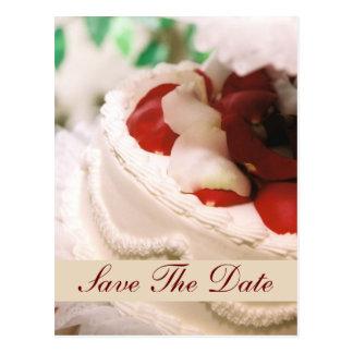 Postal Reserva de la torta del pétalo color de rosa del
