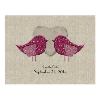 Postal Reserva de lino de la mirada de los Lovebirds