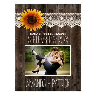 Postal Reserva de madera del boda del girasol de la foto
