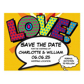 Postal Reserva del amor del boda del arte pop del cómic