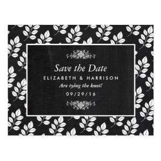 Postal Reserva del boda de la hoja floral de la pizarra