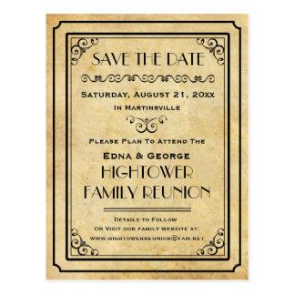 Postal Reserva del boda de la reunión de familia del