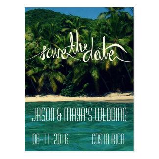 Postal Reserva del boda de playa de Costa Rica la fecha