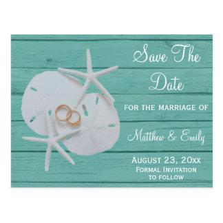 Postal Reserva del boda del destino de la playa las