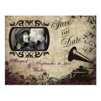 Postal Reserva del boda del fonógrafo del vintage la