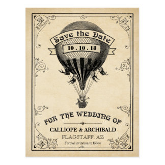 Postal Reserva del boda del globo del aire caliente del
