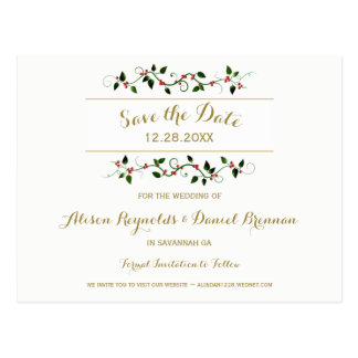 Postal Reserva del boda del invierno del día de fiesta