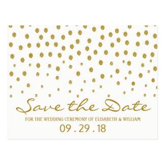 Postal Reserva del boda del lunar del oro la fecha