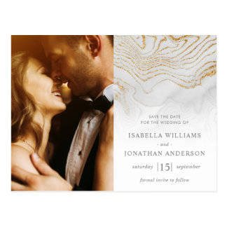 Postal Reserva del boda del mármol del purpurina del oro