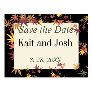 Postal Reserva del boda del otoño del arce de la caída la