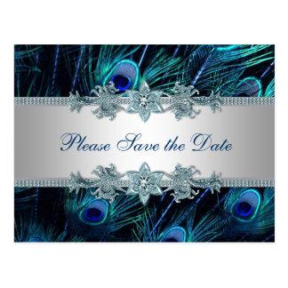 Postal Reserva del boda del pavo real de la plata del