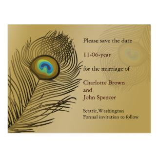 Postal reserva del boda del pavo real del oro la fecha