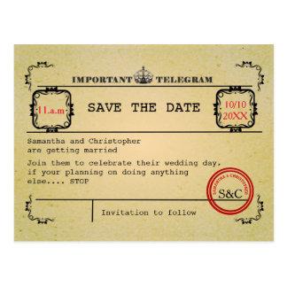 Postal Reserva del boda del telegrama del vintage la