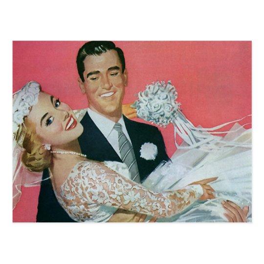 Postal ¡Reserva del boda del vintage la fecha! Recienes