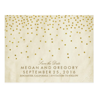Postal reserva del confeti del oro del vintage la fecha