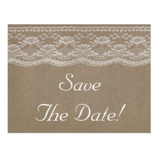 Postal Reserva del cuero y del boda del cordón la fecha
